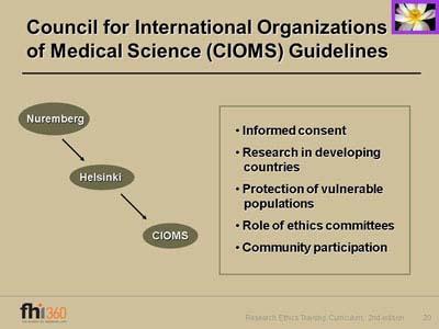 research ethics training curriculum second edition rh fhi360 org CIOMS Vi CIOMS VII