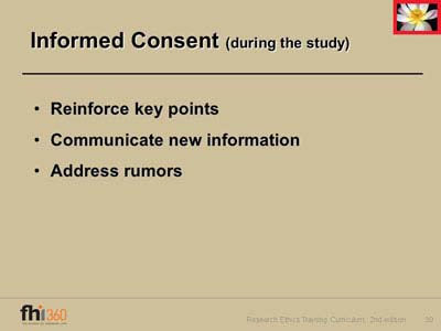 key information informed consent