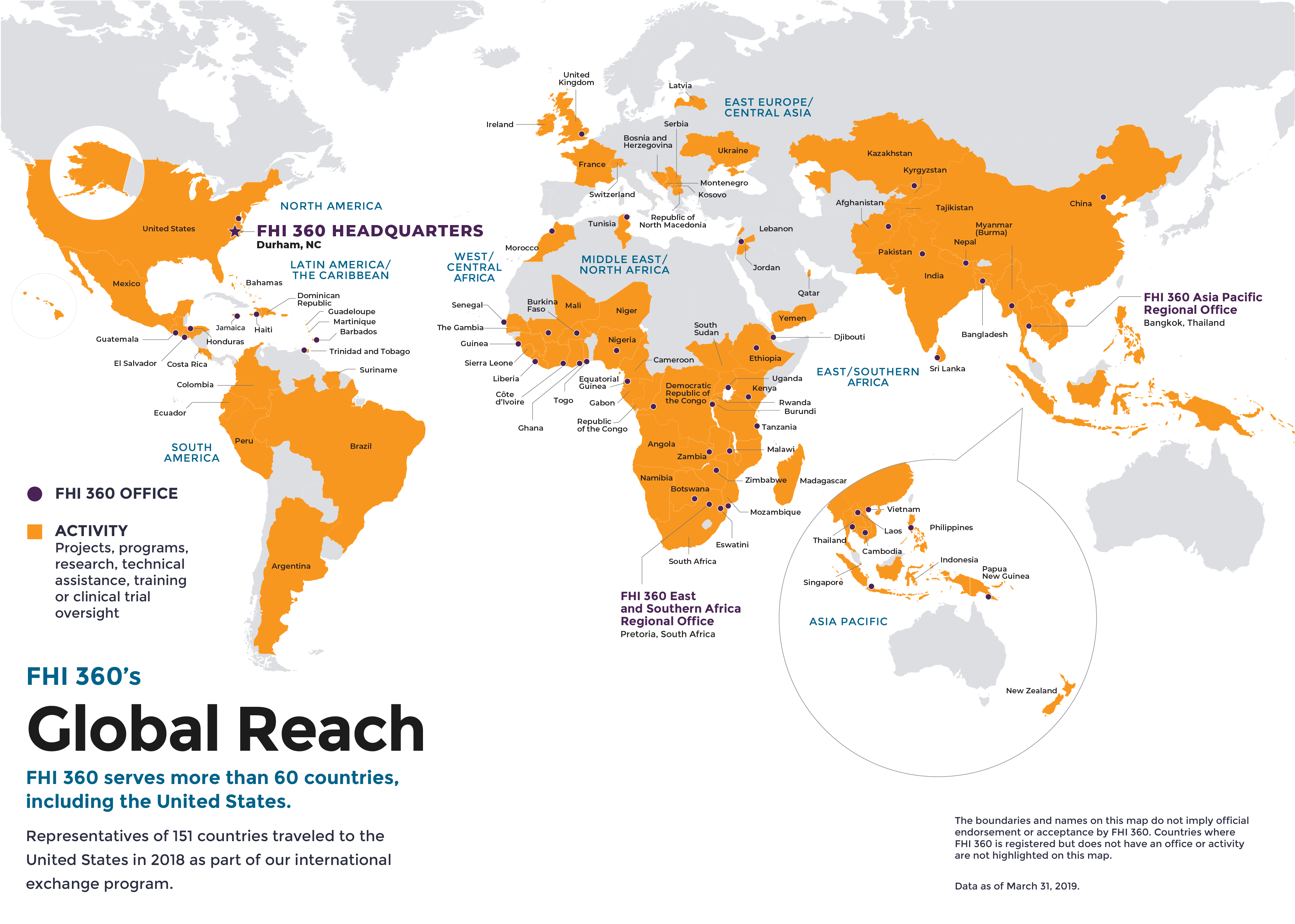 World map depicting FHI 360's project activity and office locations