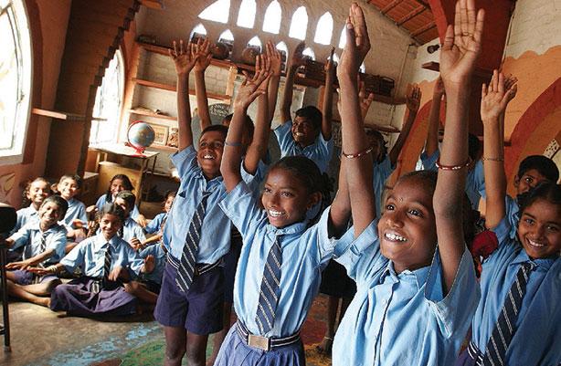 children hands raised