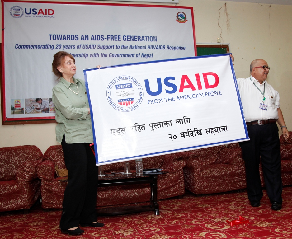 Sheila Lutjens (left), Acting Mission Director of USAID Nepal, and Dr. Naresh Pratap K.C., Director of the National Centre for AIDS and STD Control (NCASC)
