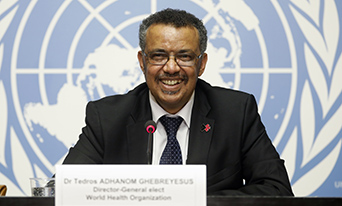 Dr Tedros Adhanom Ghebreyesus responding to questions from journalists, during the post-election press conference