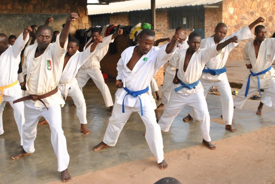 Members of Puma Karate during a practice session in Kayanza.
