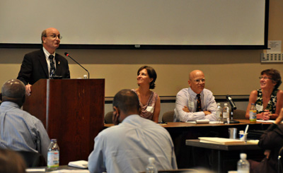 Members of the partners panel (L to R): Victoria Jennings, Pape Gaye, Joseph Dwyer, Karen Hardee.