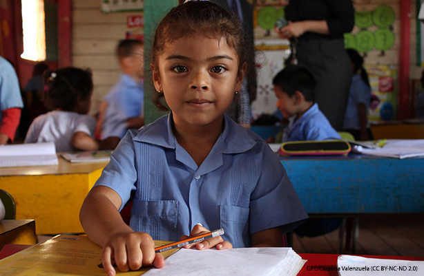 A young girl in class at the Tim Hines school in Tegucigalpa, Honduras