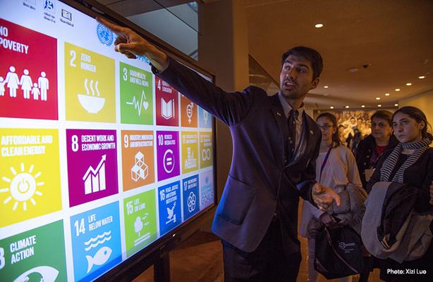 Man Explaining Sustainable Development Goals