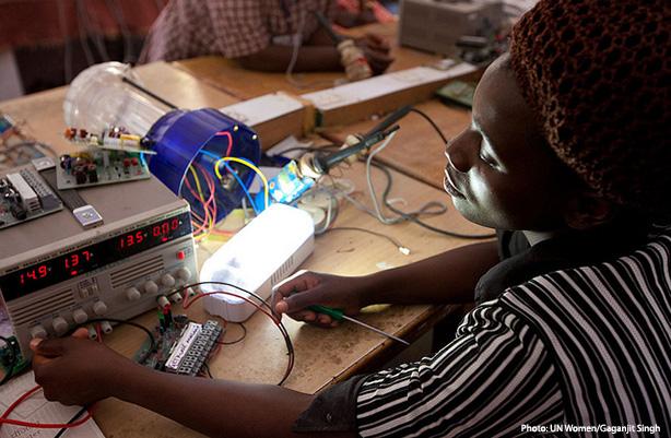 woman building radio