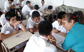 students in class in El Salvador