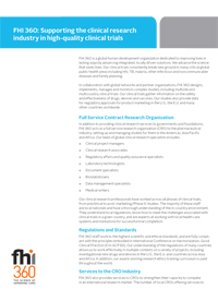 FHI 360: Supporting the Clinical Research Industry in High-quality Clinical Trials (fact sheet)