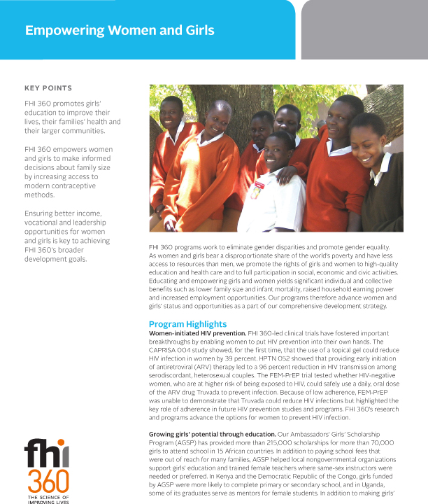 Empowering Women and Girls (fact sheet) : FHI 360