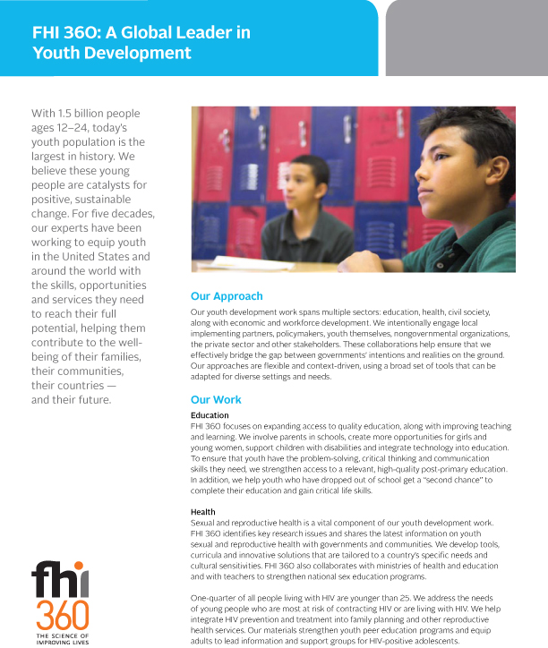 FHI 360: A Global Leader in Youth Development (fact sheet)