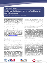 Exploring linkages between food security and microfinance