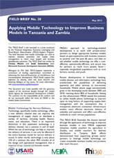 FIELD Brief No. 20: Applying Mobile Technology to Improve Business Models in Tanzania and Zambia