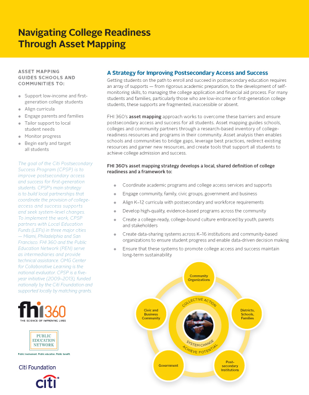 Navigating College Readiness Through Asset Mapping (fact sheet)