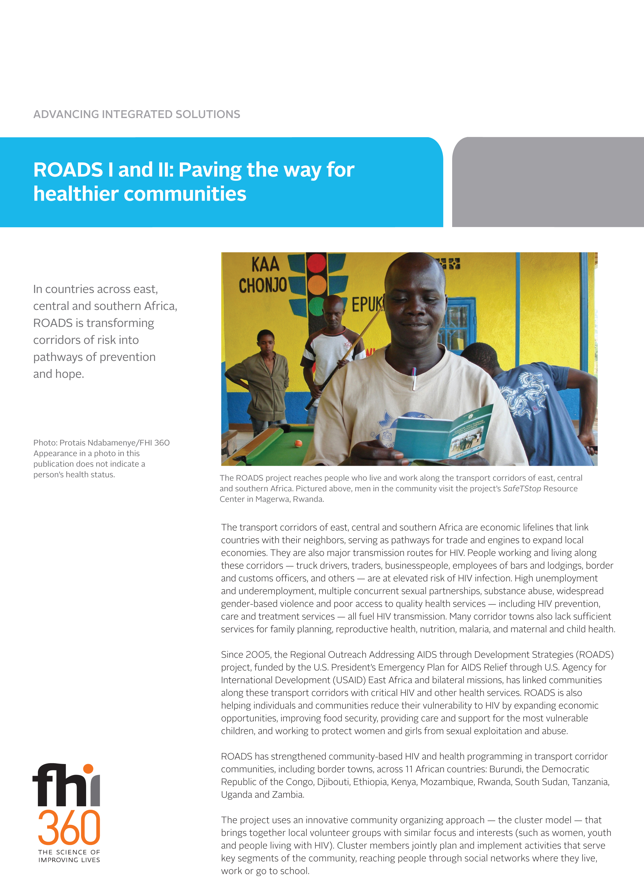 Roads I And Ii Paving The Way For Healthier Communities Fact Sheet Fhi 360