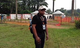 Dr. John Otshudiema of FHI 360 works on the Ebola response in the Democratic Republic of the Congo, June 2018.