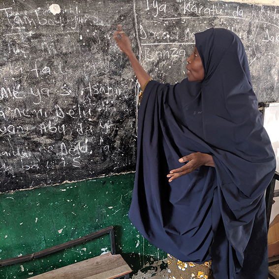 Maryam Mustapha teaches at a nonformal learning center in Maiduguri, Northeast Nigeria. Her classes include social emotional learning, a critical component of programming for education in emergencies.