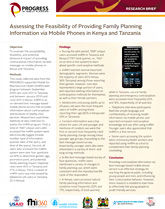 Assessing the Feasibility of Providing Family Planning Information via Mobile Phones (PDF, 1.4 MB)