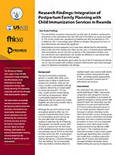 Integration of Postpartum Family Planning with Child Immunization Services in Rwanda