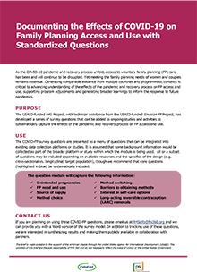 Documenting the Effects of COVID-19 on Family Planning Access and Use with Standardized Questions