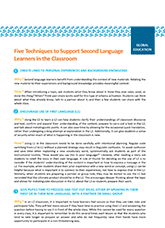 Five Techniques to Support Second Language Learners in the Classroom
