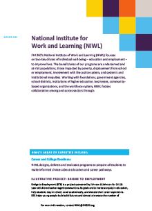 National Institute For Work and Learning (fact sheet)
