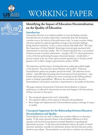 Identifying the Impact of Education Decentralization on the Quality of Education
