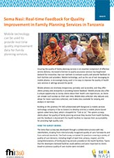 Sema Nasi: Real-Time Feedback for Quality Improvement in Family Planning Services in Tanzania