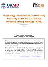 Supporting Transformation by Reducing Insecurity and Vulnerability with Economic Strengthening (STRIVE) Final Report