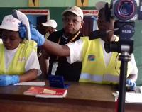 An Ebola screening site at the Mbandaka Airport.