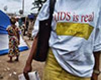 woman wearing AIDS t-shirt