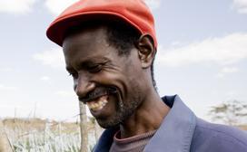 close-up of man smiling