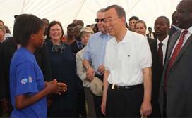 UN Secretary General Ban Ki-moon visits Zambia program site