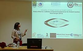 "Rafaela ""Rafa"" Paulo Teixeira presenting information"