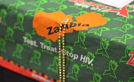 Map of Zambia on a tablecloth
