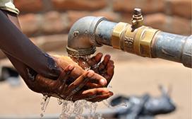 hand washing at a borehole