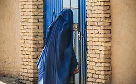 woman outside door