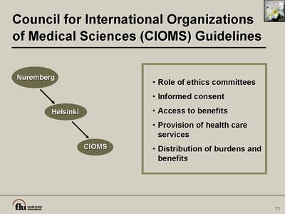 council for international organizations of medical sciences guidelines rh fhi360 org CIOMS Vi CIOMS VII